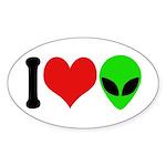 I Love Aliens Oval Sticker (10 pk)