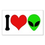 I Love Aliens Rectangle Sticker 10 pk)