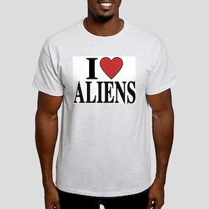 I Love Aliens Ash Grey T-Shirt