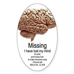 I Have Lost My Mind Oval Sticker