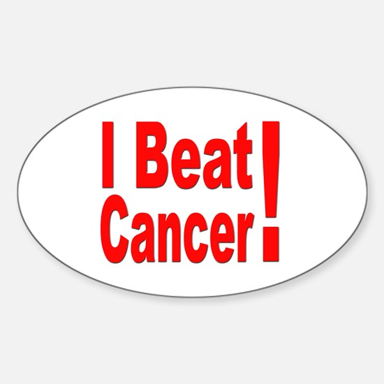 I Beat Cancer Oval Decal