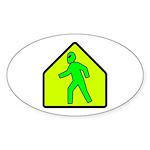 Alien Crossing Oval Sticker (10 pk)