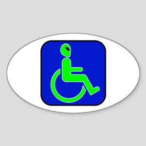 Handicapped Alien Oval Sticker