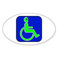 Handicapped Alien Oval Sticker
