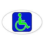 Handicapped Alien Oval Sticker (10 pk)