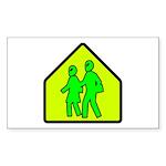 Alien School Xing Rectangle Sticker 50 pk)