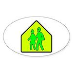 Alien School Xing Oval Sticker (50 pk)
