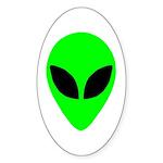 Alien Head Oval Sticker (10 pk)