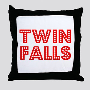 Retro Twin Falls (Red) Throw Pillow