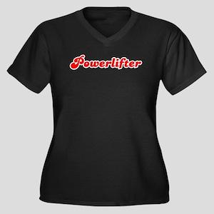 Retro Powerlifter (Red) Women's Plus Size V-Neck D