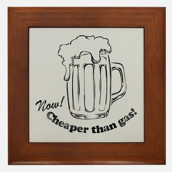 Beer: Now! Cheaper than Gas! Framed Tile