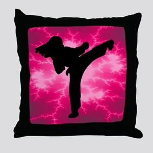 Martial Artist Female Throw Pillow