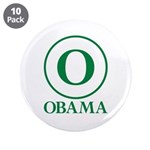 """Green O Obama 3.5"""" Button (10 pack)"""