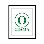 Green O Obama Framed Panel Print