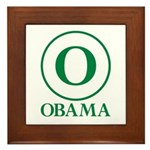 Green O Obama Framed Tile