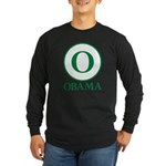 Green O Obama Long Sleeve Dark T-Shirt