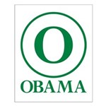 Green O Obama Small Poster