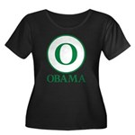 Green O Obama Women's Plus Size Scoop Neck Dark T-