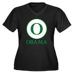Green O Obama Women's Plus Size V-Neck Dark T-Shir