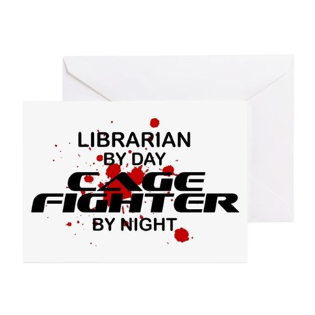 Librarian Cage Fighter by Night Greeting Cards (Pk