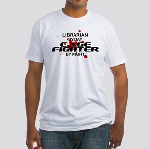 Librarian Cage Fighter by Night Fitted T-Shirt