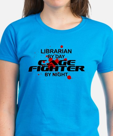 Librarian Cage Fighter by Night Women's Dark T-Shi