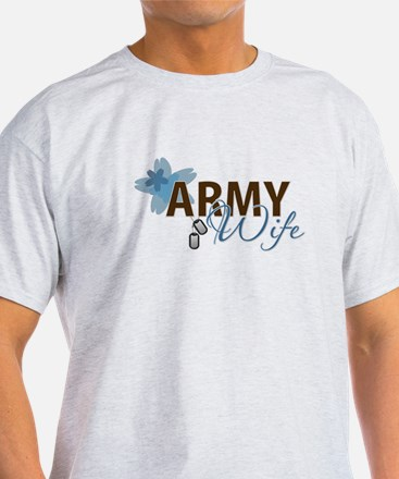 Blue & Brown ARMY WIFE T-Shirt