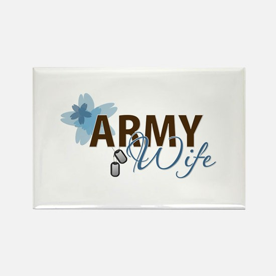 Blue & Brown ARMY WIFE Rectangle Magnet