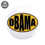 "Gold Oval Obama 3.5"" Button (10 pack)"