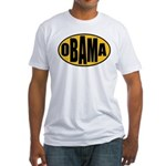 Gold Oval Obama Fitted T-Shirt