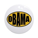 Gold Oval Obama Ornament (Round)
