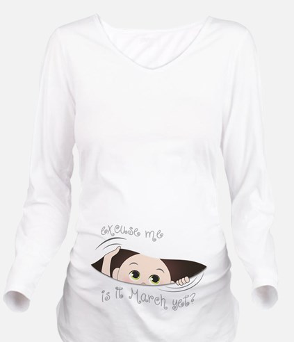 Funny Peeking Baby M Long Sleeve Maternity T-Shirt