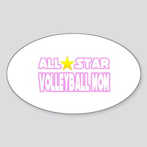 """All Star Volleyball Mom"" Oval Sticker"
