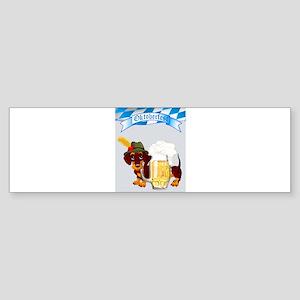 Oktoberfest Daschund with Banner an Bumper Sticker