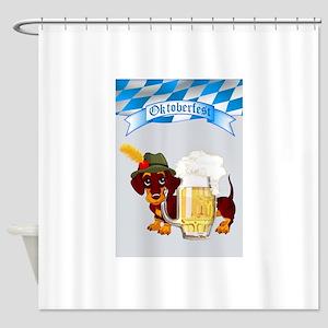 Oktoberfest Daschund with Banner an Shower Curtain