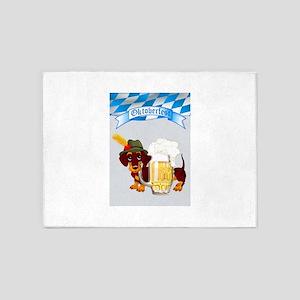 Oktoberfest Daschund with Banner an 5'x7'Area Rug