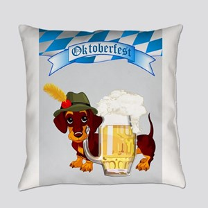 Oktoberfest Daschund with Banner a Everyday Pillow