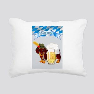 Oktoberfest Daschund wit Rectangular Canvas Pillow