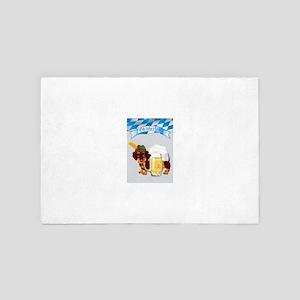 Oktoberfest Daschund with Banner and B 4' x 6' Rug