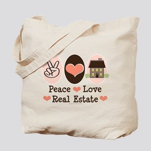 Peace Love Real Estate Agent Tote Bag
