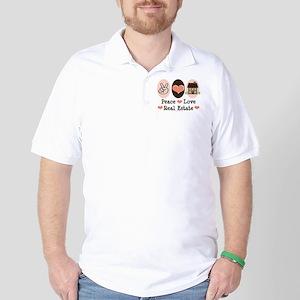 Peace Love Real Estate Agent Golf Shirt