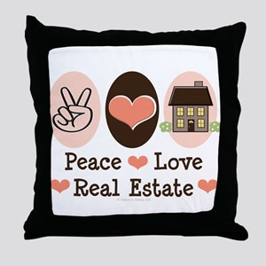 Peace Love Real Estate Agent Throw Pillow