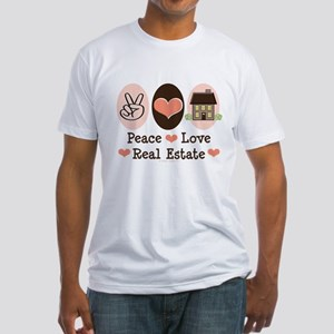Peace Love Real Estate Agent Fitted T-Shirt