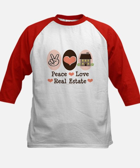Peace Love Real Estate Agent Kids Baseball Jersey