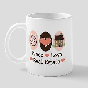 Peace Love Real Estate Agent Mug