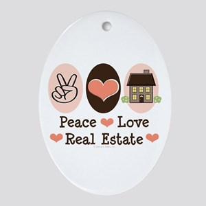 Peace Love Real Estate Agent Oval Ornament