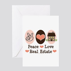 Peace Love Real Estate Agent Greeting Card
