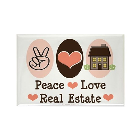 Peace Love Real Estate Rectangle Magnet (10 pack)