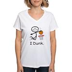 Basketball Stick Figure Women's V-Neck T-Shirt