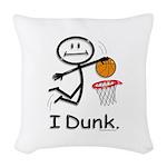 Basketball Stick Figure Woven Throw Pillow